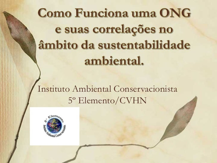 Instituto Ambiental Conservacionista         5º Elemento/CVHN