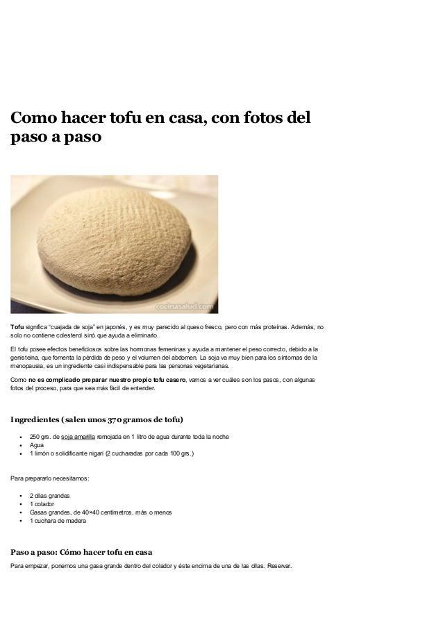 Como hacer tofu en casa con fotos del paso a paso recetas for Como hacer una cocina integral paso a paso pdf