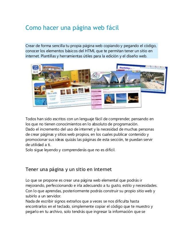 Como hacer una página web fácil Crear de forma sencilla tu propia página web copiando y pegando el código, conocer los ele...