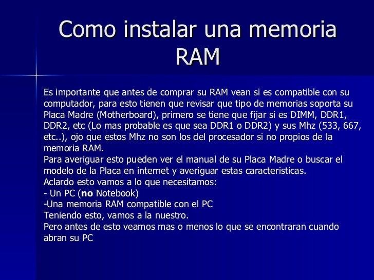 Como instalar una memoria ram - Como poner una mosquitera ...