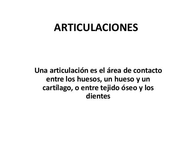 ARTICULACIONES Una articulación es el área de contacto entre los huesos, un hueso y un cartílago, o entre tejido óseo y lo...