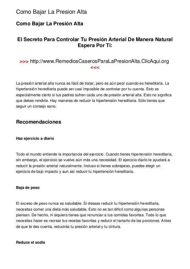 Como Bajar La Presion AltaComo Bajar La Presión AltaEl Secreto Para Controlar Tu Presión Arterial De Manera Natural       ...