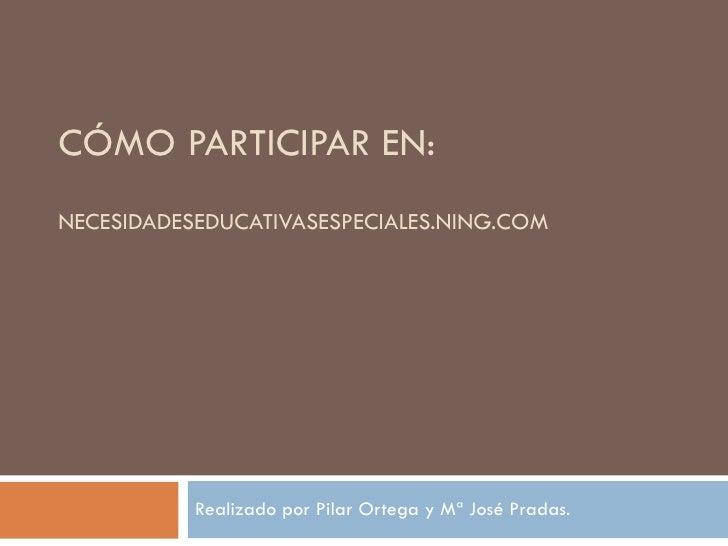 CÓMO PARTICIPAR EN:  NECESIDADESEDUCATIVASESPECIALES.NING.COM Realizado por Pilar Ortega y Mª José Pradas.