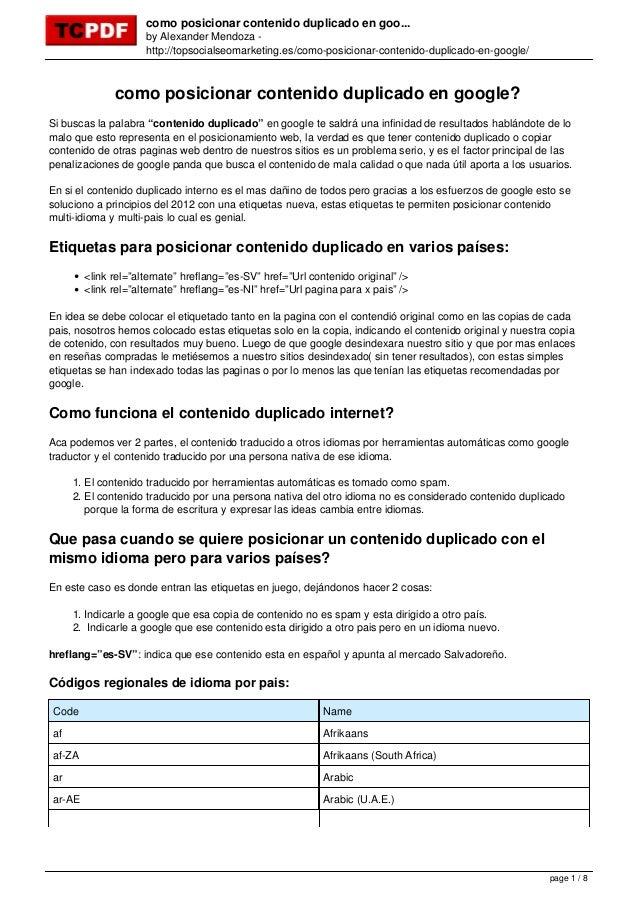 como posicionar contenido duplicado en goo... by Alexander Mendoza - http://topsocialseomarketing.es/como-posicionar-conte...
