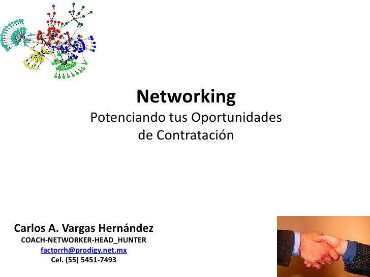 NetworkingPotenciando tus Oportunidadesde Contratación<br />Carlos A. Vargas Hernández<br />COACH-NETWORKER-HEAD_HUNTER<br...