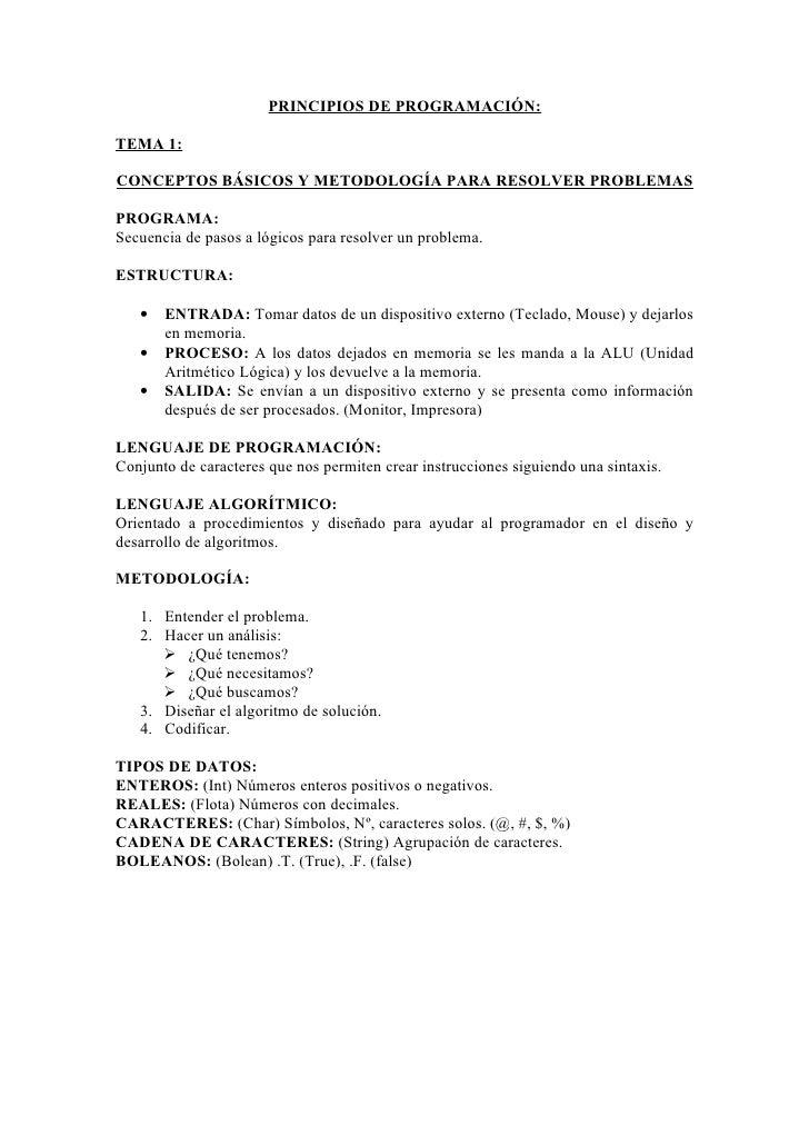 PRINCIPIOS DE PROGRAMACIÓN:  TEMA 1:  CONCEPTOS BÁSICOS Y METODOLOGÍA PARA RESOLVER PROBLEMAS  PROGRAMA: Secuencia de paso...
