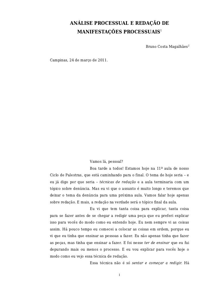 ANÁLISE PROCESSUAL E REDAÇÃO DE               MANIFESTAÇÕES PROCESSUAIS1                                                  ...