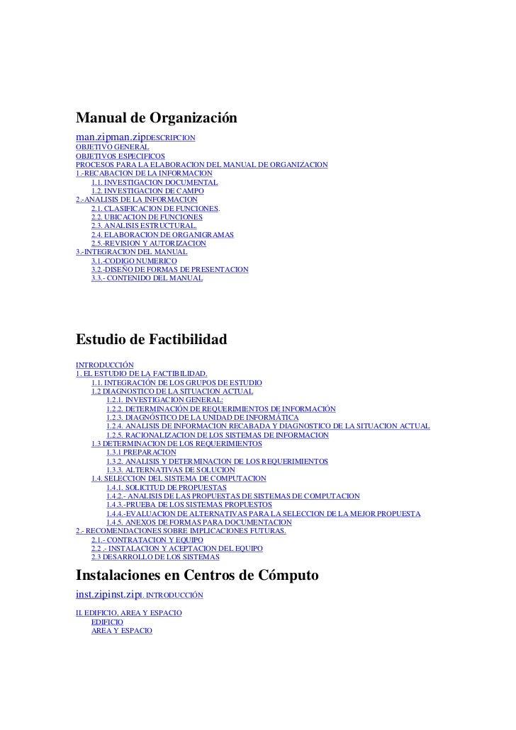 Manual de Organización man.zipman.zipDESCRIPCION OBJETIVO GENERAL OBJETIVOS ESPECIFICOS PROCESOS PARA LA ELABORACION DEL M...
