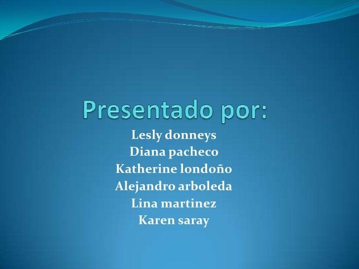 Lesly donneys  Diana pachecoKatherine londoñoAlejandro arboleda  Lina martinez    Karen saray