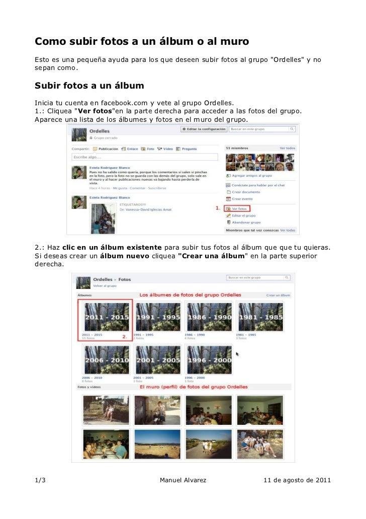 Como subir fotos a un álbum o al muro