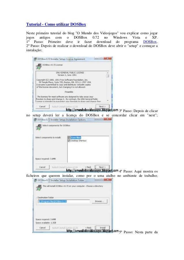 """Tutorial - Como utilizar DOSBoxNeste primeiro tutorial do blog """"O Mundo dos Videojogos"""" vou explicar como jogarjogos antig..."""