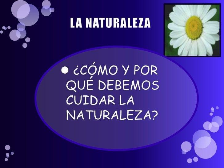 Como y porque debemos cuidar la naturaleza