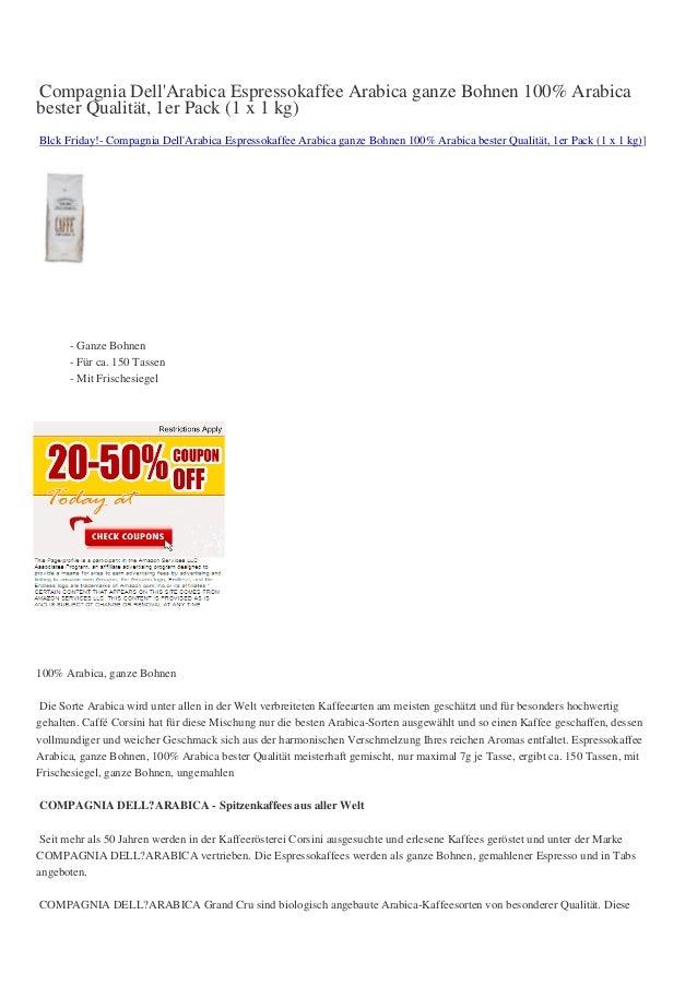 Compagnia DellArabica Espressokaffee Arabica ganze Bohnen 100% Arabicabester Qualität, 1er Pack (1 x 1 kg)Blck Friday!- Co...