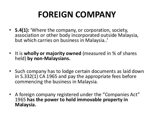 Business law in malaysia foreign company s41 where the company or stopboris Gallery