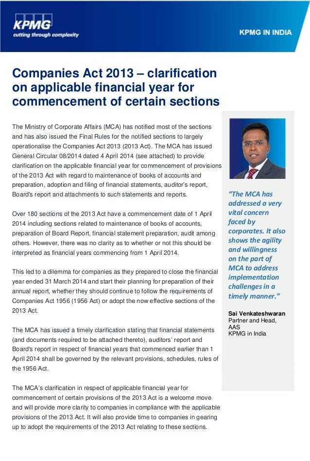 Companies Act 2013 – clarification on applicable financial year for commencement of certain sections
