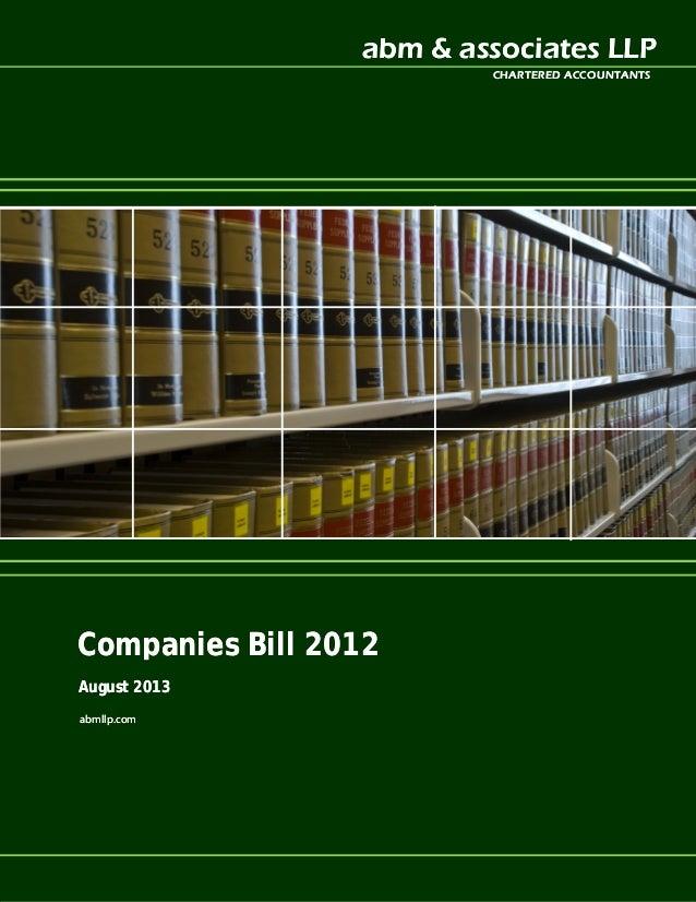 abm & associates LLPabm & associates LLP CHARTERED ACCOUNTANTSCHARTERED ACCOUNTANTS Companies Bill 2012Companies Bill 2012...