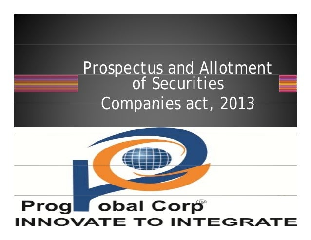 Prospectus and Allotmentp of Securities Companies act 2013Companies act, 2013