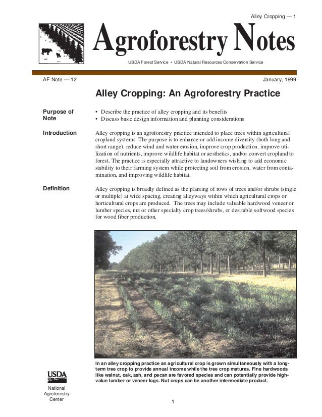 Alley Cropping — 1               Agroforestry Notes                             USDA Forest Service • USDA Natural Resourc...