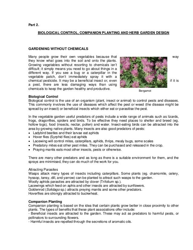 Part 2.      BIOLOGICAL CONTROL, COMPANION PLANTING AND HERB GARDEN DESIGNGARDENING WITHOUT CHEMICALSMany people grow thei...