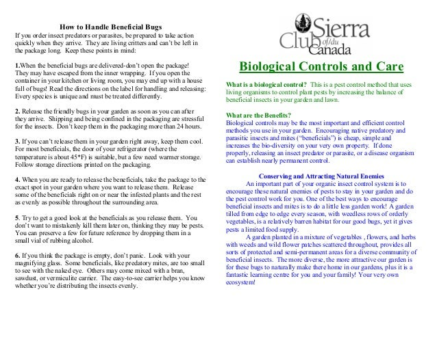 Biological Controls and Care for Pest Control - Sierra Club