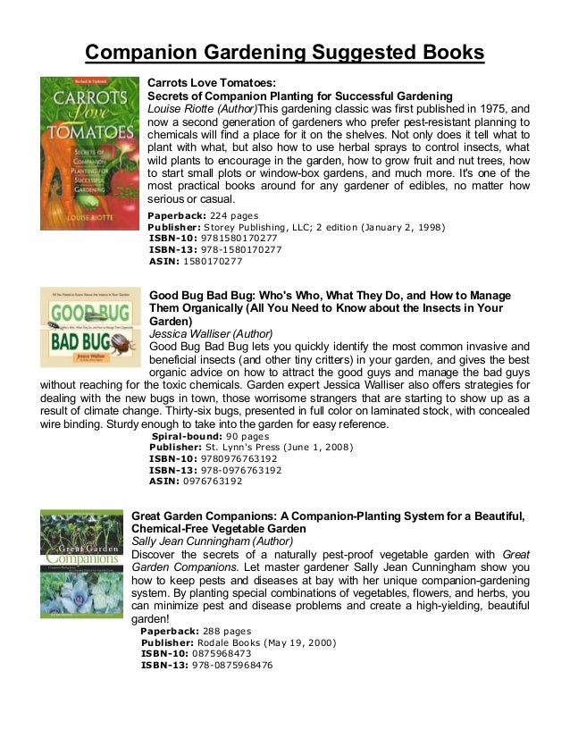 Companion Gardening Suggested Books                      Carrots Love Tomatoes:                      Secrets of Companion ...