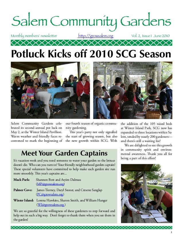 Salem Community GardensMonthly members' newsletter                      http://growsalem.org                    Vol. 2, ...
