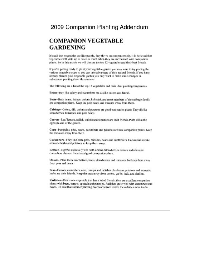 Companion Vegetable Gardening - South Haven Garden Club, Michigan