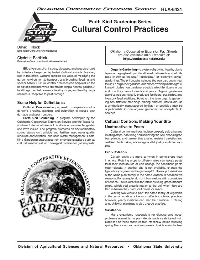 Cultural Control Practices: Earth-Kind Gardening - Oklahoma Cooperative Extension