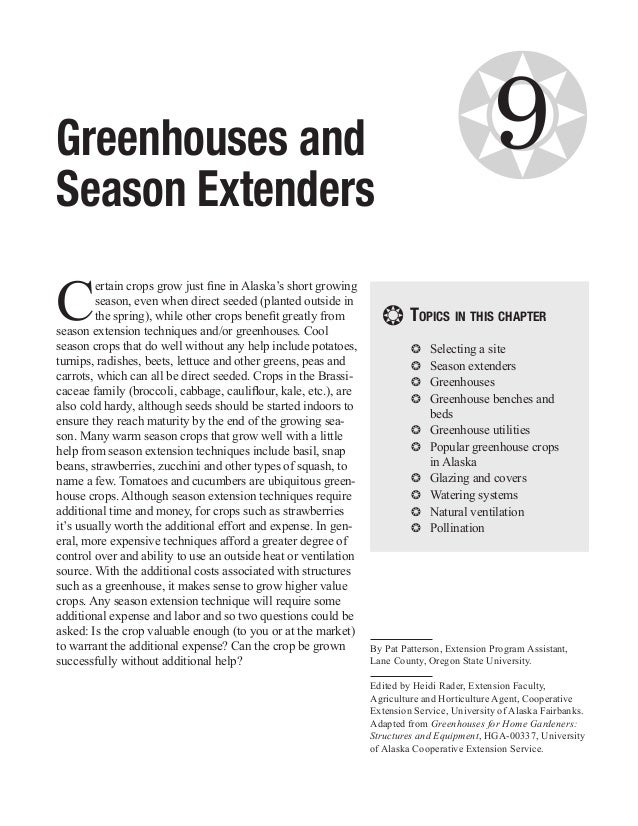 Greenhouses and                                                                     ❂        9Season ExtendersC         er...