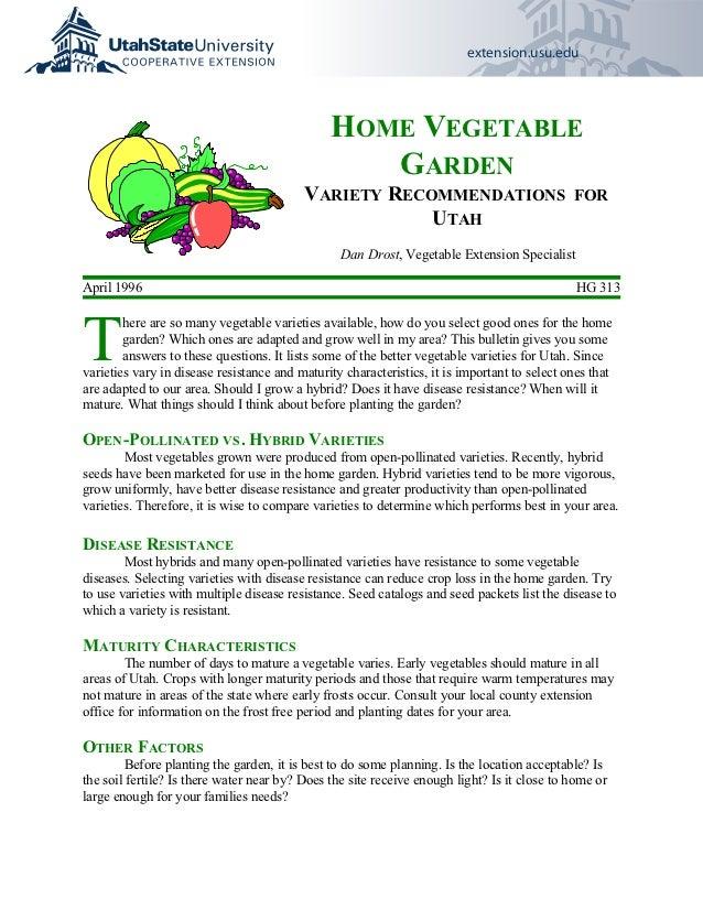 Home Vegetable Garden Variety Recommendations for Utah - Utah State University