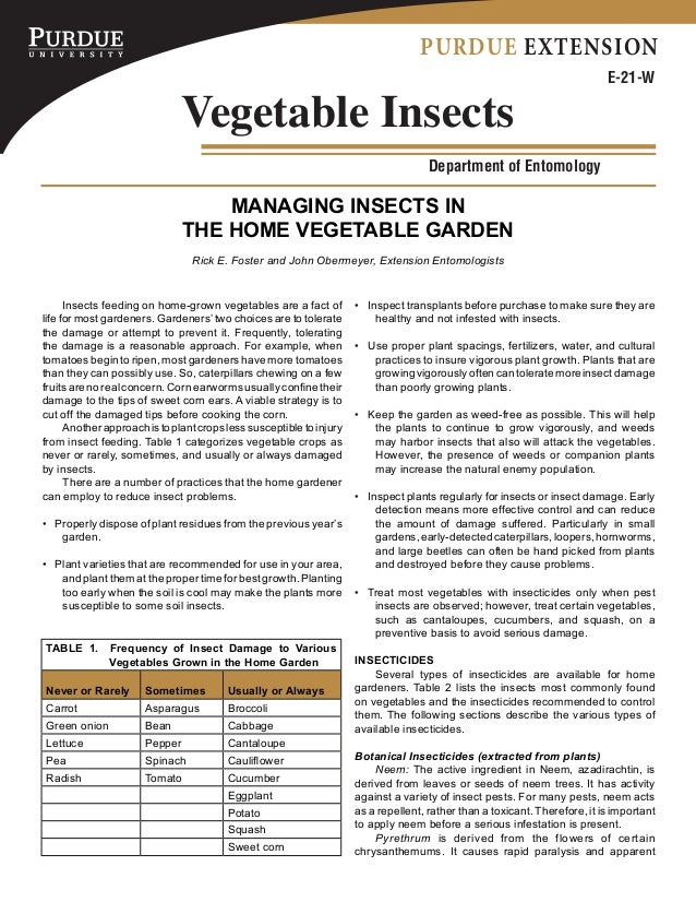 Managing Insects in the Home Vegetable Garden - Purdue University