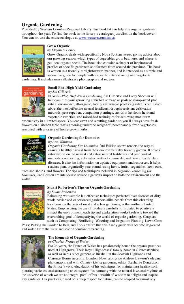 Organic Gardening Book List - Western Counties Regional Library