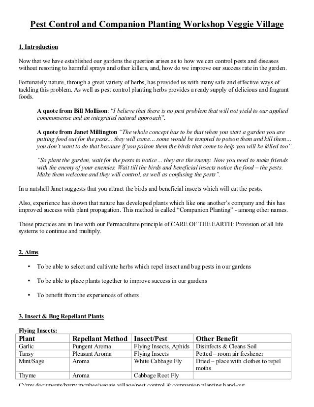 Pest Control and Companion Planting Workshop Veggie Village1. IntroductionNow that we have established our gardens the que...