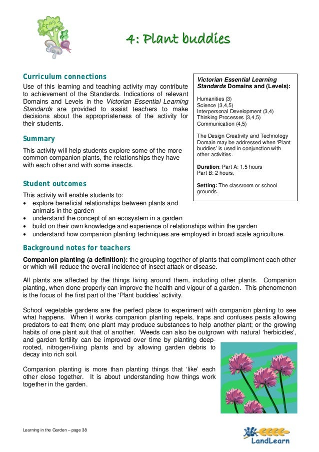 4: Plant buddiesCurriculum connections                                      Victorian Essential LearningUse of this learni...