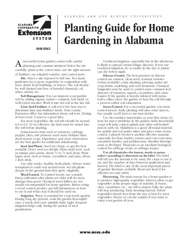 Planting Guide for Home Gardening in Alabama - Alabama Cooperative Extension