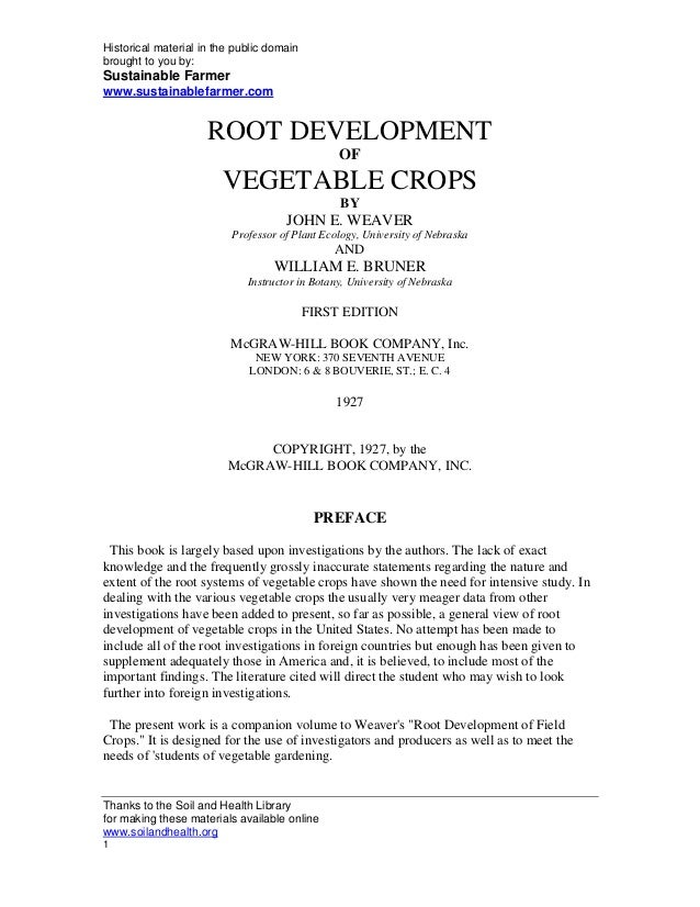 Root Development and Vegetable Crops
