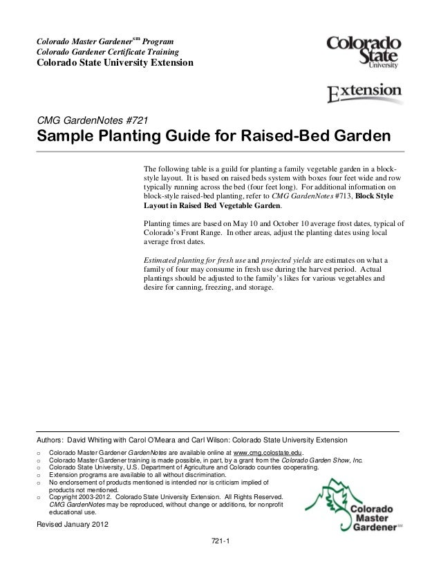 Sample Planting Guide for Raised-Bed Garden - Colorado Master Gardeners