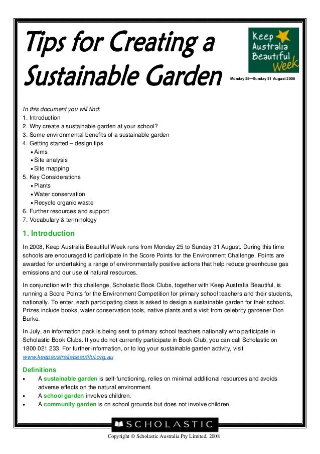 Monday 25 Sunday 31 August 2008In this document you will find:1. Introduction2. Why create a sustainable garden at your sc...