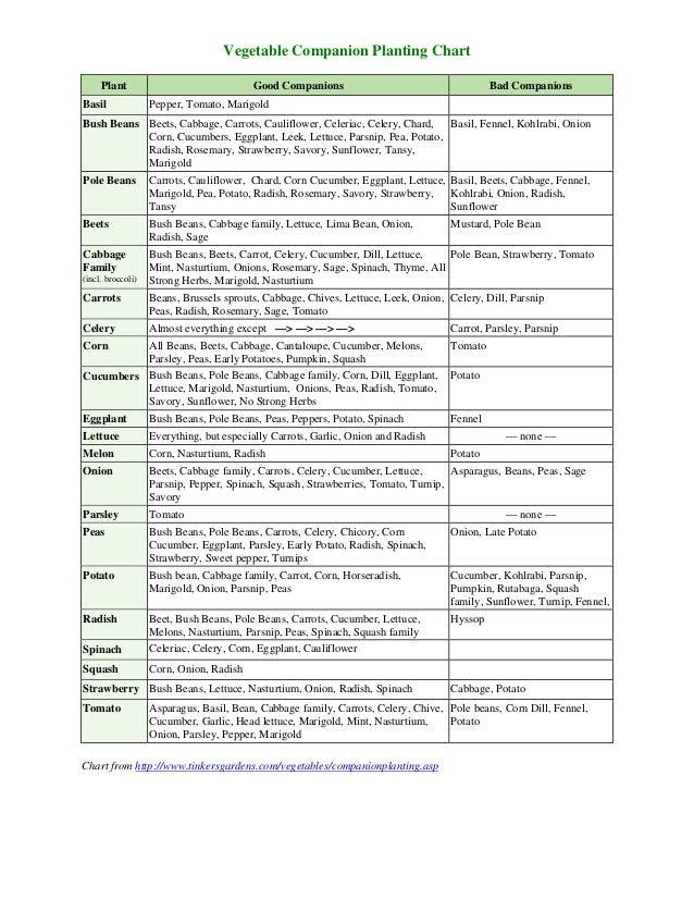 vegetable companion planting chart theculvers. Black Bedroom Furniture Sets. Home Design Ideas