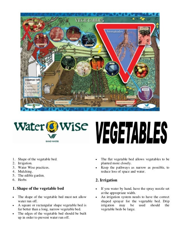 1.   Shape of the vegetable bed.                      •   The flat vegetable bed allows vegetables to be2.   Irrigation.  ...