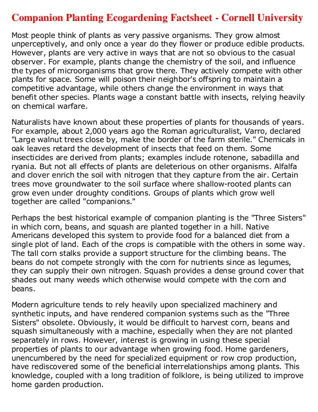 Companion Planting Eco Gardening Factsheet - Cornell University, New York