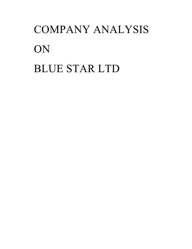Company Analysis Of Blue Star