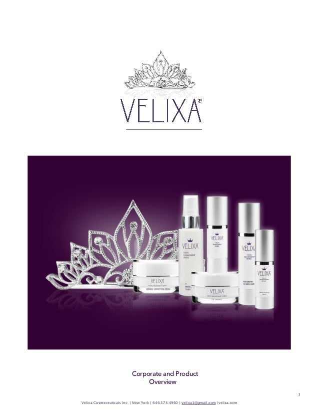 Corporate and Product Overview 1 Velixa Cosmeceuticals Inc. | New York | 646.374.4960 | velixa1@gmail.com |velixa.com