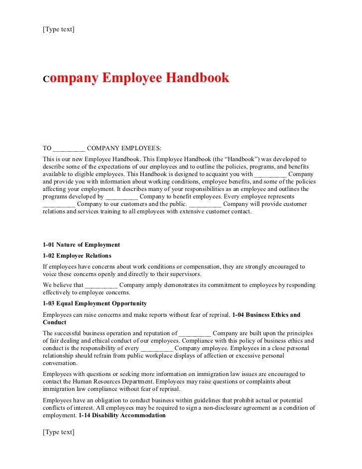 [Type text]Company               Employee HandbookTO __________ COMPANY EMPLOYEES:This is our new Employee Handbook. This ...