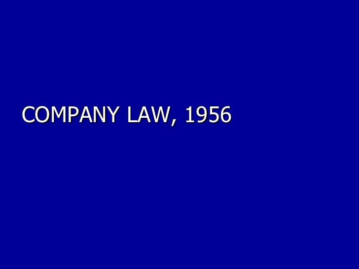 COMPANY LAW, 1956