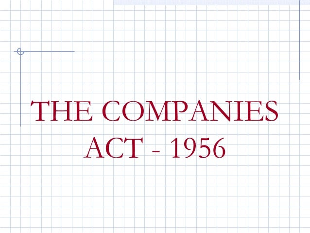 THE COMPANIES   ACT - 1956