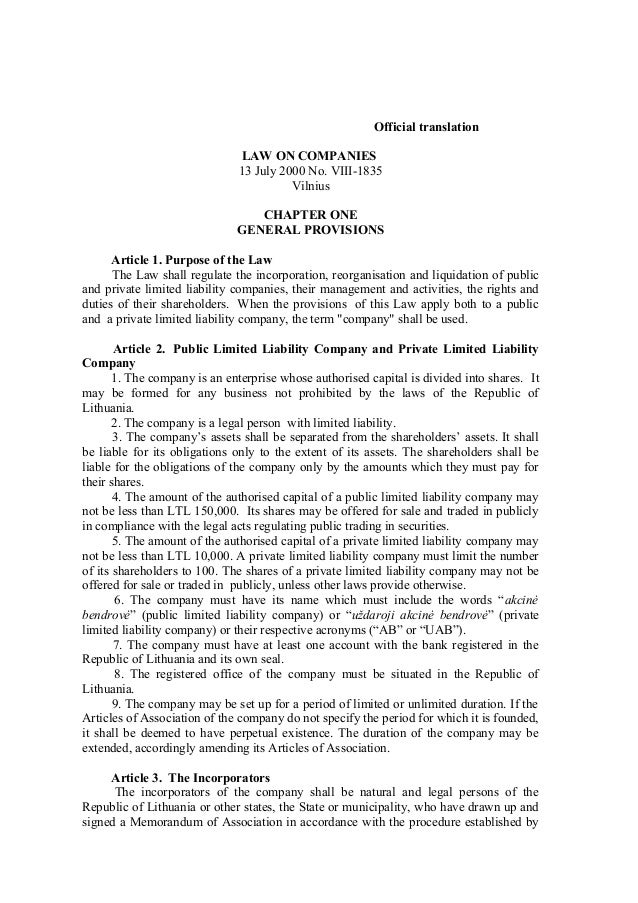 Official translation                              LAW ON COMPANIES                              13 July 2000 No. VIII-1835...