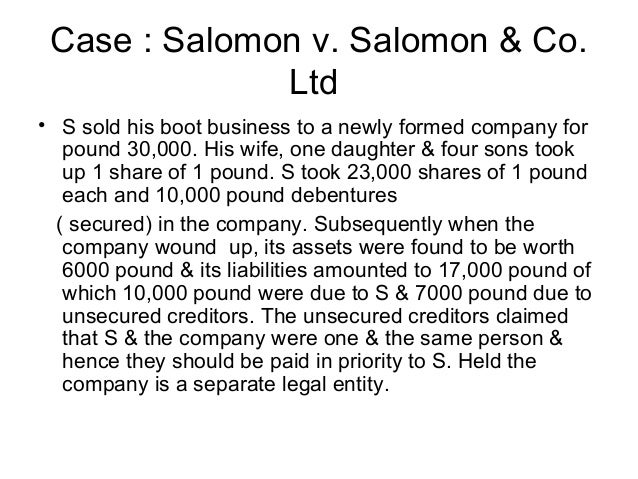 salomon v a salomon essay Perhaps for the first time the issue of lifting the corporate veil was discussed at a  high judicial level in a classic case of salomon v a salomon & co ltd of 1897.