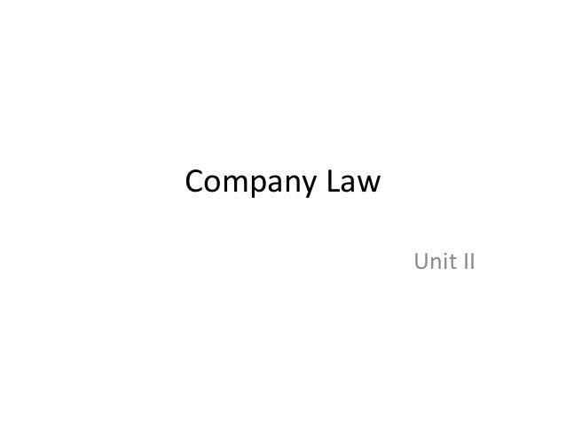 Company Law              Unit II