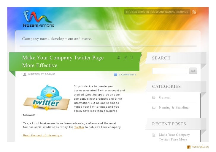 Company name development and more…Make Your Company Twitter Page                                              4 5 2       ...